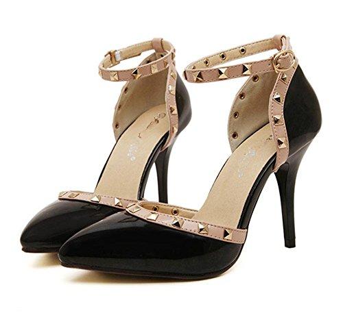 YMXJB Europe et rivet pointu couleurs mélangées de sandales dans chaussures talons hauts pour femmes Black