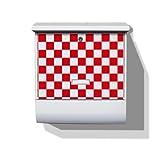 Burg-Wächter Briefkasten mit Zeitungsfach und Namensschild Motiv: Karo Rot