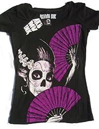 Rockabilly akumu ink t-shirt pour femme diamètre dEL mUERTE taille s-l (noir)