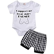 Conquro Ropa Conjuntos para bebé niño Bebé Lindas Shorts de Kimono a Cuadros de Manga Corta