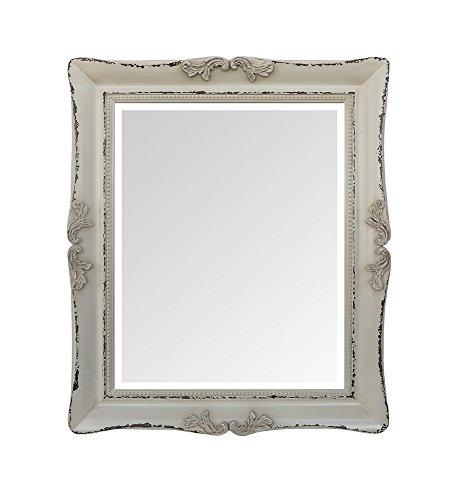 Moycor Decoración - Espejo madera color crema envejecido, 55 x 65