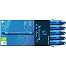 Schneider Slider Memo XB Kugelschreiber (mit Kappe, Strichstärke: XB, Schreibfarbe: blau, Made in Germany) 10er Packung