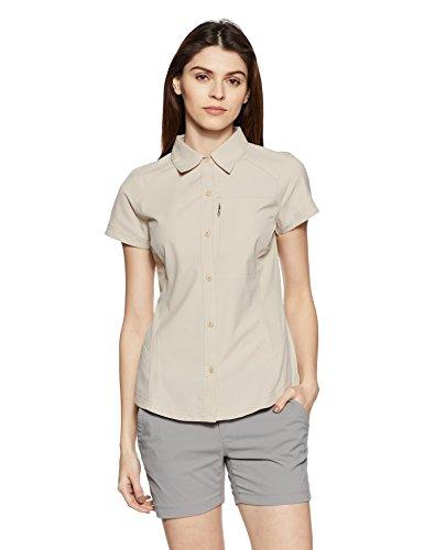 Columbia Kurzarm-Wanderhemd für Damen, Silver Ridge Short Sleeve Shirt, Nylon, beige (Fossil), Gr. M, AL7122