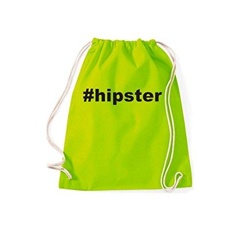 Turnbeutel #hipster Hashtag Gymsack Kultsack Lime