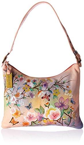 Anuschka handbemalte Ledertaschen, Schultertasche für Damen, Geschenk für Frauen, Handgefertigte Handtasche, Schlanke große Hobo-Tasche (Blumen, Japanese Garden 605 JPG) (Slouchy Handtasche Hobo)