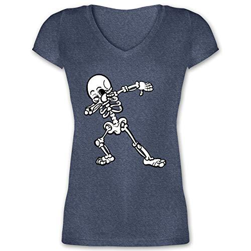 Halloween - Dabbing Skelett - 3XL - Dunkelblau meliert - XO1525 - Damen T-Shirt mit V-Ausschnitt