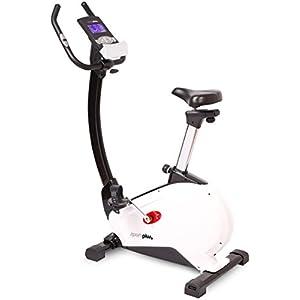 SportPlus Fahrradergometer mit App-Steuerung, Google Street View, Wattanzeige, ca. 10kg Schwungmasse, 24 Widerstandsstufen, Handpulssensoren, Nutzergewicht bis 130kg, Sicherheit geprüft