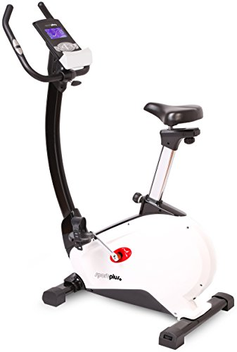 SportPlus Fitness Exercise Bike with App-Control, Google Street View, max. Wattage 240 Watt, approx. 10 kg Flywheel, 24 Electronic Resistance Levels, Max. User Weight 130 kg, Safety tested