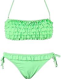 Damen Bikini Set Push up Neckholder Bandeau Rüschen-Monokini mit Fransen