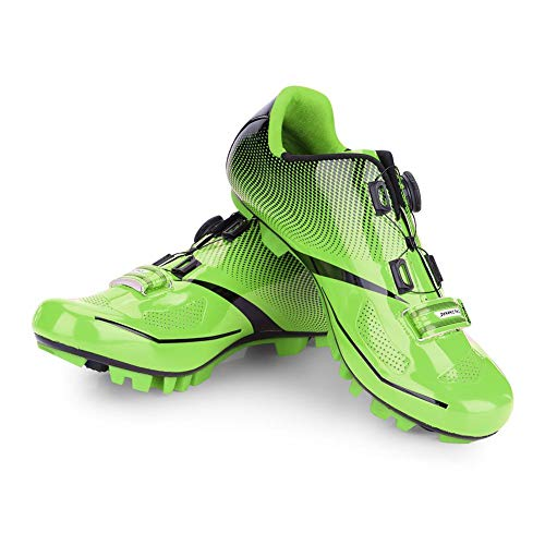 Alomejor 1 Paio Scarpe da Ciclismo Pedali Compatibili per Mountain Bike Traspirante Anti-Skid Scarpa da MTB Uomo Adulto(43-Verde)