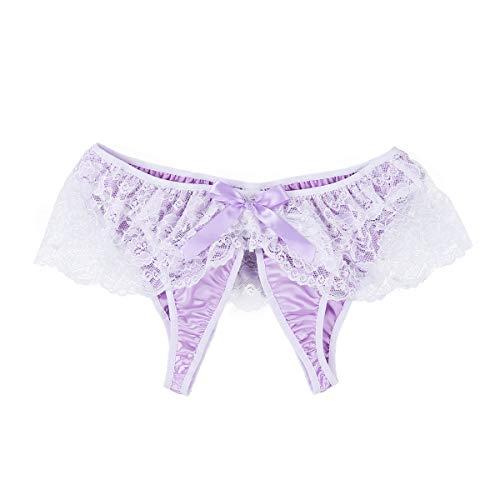 Agoky Ouvert Slip Herren Satin Spitze Unterwäsche sexy Sissy Dessous Erotische Unterhose Männer Panty Bikini Briefs reizvolle Nachtwäsche Violett M(Taille 68-118cm) (Satin Tanga Männer)