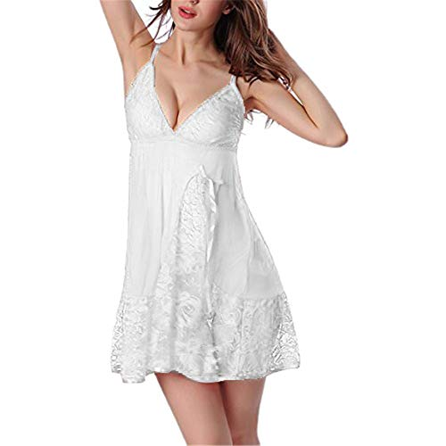 Oliviavan Sexy Dentelle Noir Nuisette Nuit Bowknot Lingerie Femme Pyjama Cher Babydoll Ajourée Pas de Transparente Peignoir sous Robe Gainante Allaitement Ensembles De Chemise Culotte 2P