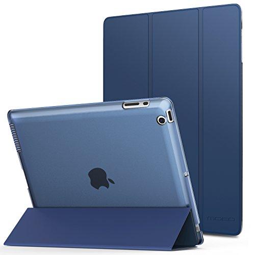 MoKo Hülle für iPad 2/3/4 - PU Leder Tasche Schale Smart Case mit Translucent Rücken Deckel, mit Auto Schlaf/Wach Funktion und Standfunktion für Apple iPad 2/3/4 9.7 Zoll Tablet-PC, Marineblau