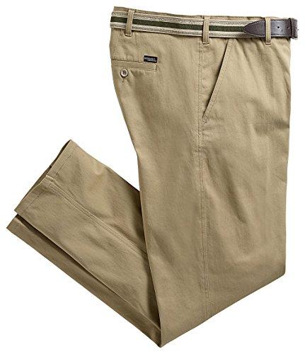 HENSON&HENSON Herren Business-/Freizeithose aus Baumwolle, hochwertige Hose im Chino-Look mit Stretch und Elastikgürtel (Größen: 25 - 56, Farbe: Beige)