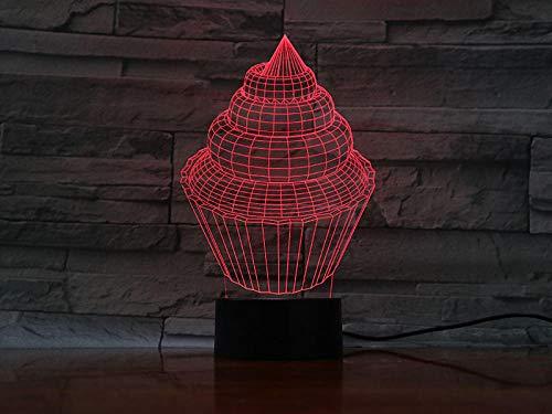 Xiujie 3D Nachtlicht Eis Kuchen 7 Farbe Illusion Lampe Kinder Usb Berühren Sie 3D Tischlampe Halloween Weihnachten Kinder Geschenk Schlafzimmer Nachttischlampe