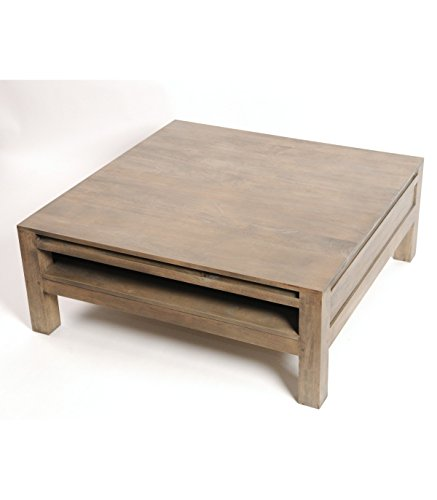 Table basse grise en hévéa avec plateau