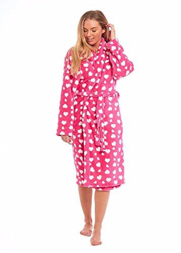 - 41w9F81OugL - MyShoeStore Ladies Coral Polar Fleece Dressing Gown Womens Shawl Neck Bathrobe Warm Wrap Lounge Wear Nightwear Sleepwear Housecoat Bath Robe Nightgown With Belt Size S-XL