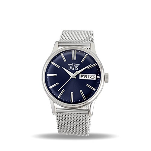 Davis 2092MB - Mens Classic Watch Retro Blue Dial Day/Date Mesh Strap