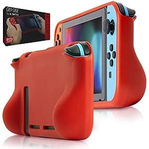 Orzly Comfort Grip Case für Nintendo Switch – Schutzhülle für den Einsatz auf der Nintendo Switch Console im Handheld Gamepad-Modus mit integrierten Komfort gepolsterten Handgriffen – ROT