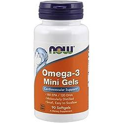 NOW Foods Omega-3 Mini Softgels (180 EPA/120 DHA), 90 Softgels