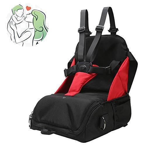LUGUMU Boostersitz, Faltbar Mobiler Kindersitz Sitzerhöhung Und Reisesitz, Wickeltasche In Baby Reisesitz Verwandeln,Black