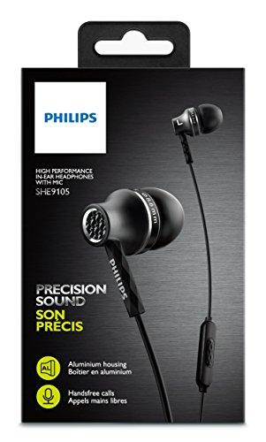 Philips SHE9105BK/00 In-Ear Kopfhörer mit Mikrofon (8,6 mm Treiber, halb geschlossenes System, Metallgehäuse) schwarz - 2