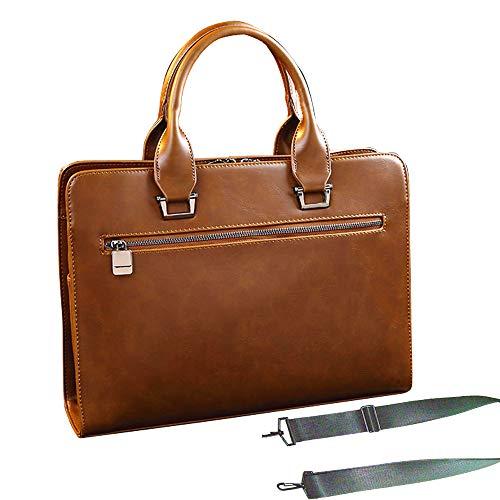 Maletin hombre piel a trabajo de mano y con correa de hombros maletin portatiles bolso de mano PU cuero alta calidad gran espacio a ordenadores portatil de 13.3 pulgadas negocios(Marron)