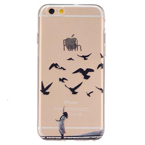 """iphone 6s Coque / iphone 6 -4.7"""" [Clair] MYTH Transparente Housse, Silicone Ultra Mince Doux TPU Étui de Protection Bumper Cover Mignon Dessin animé Oiseau & Fille"""