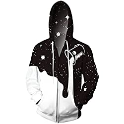 Chicolife Unisex negro diseño Simple blanco Jersey gimnasio baloncesto sudadera con capucha chaqueta para adolescentes Junior XX-grande