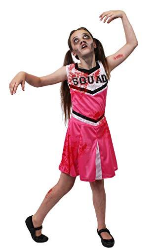 ILOVEFANCYDRESS Kinder Zombie Cheerleader KOSTÜM Verkleidung = ROSA/WEIßES Kleid = Dieses KOSTÜM Hat DIE Aufschrift = Squad = = BEINHALTET - Kleid + KUNSTBLUT + SCHMINKE=MEDIUM (Zombie Kostüm Kind Cheerleader)