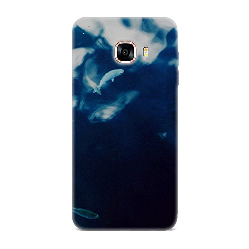 Samsung C7 Case, Samsung C7 Hard Protective SLIM Printed Cover [Shock Resistant Hard Back Cover Case] for Samsung C7 - Water Lake Fish Nature Indigo Blue  available at amazon for Rs.299