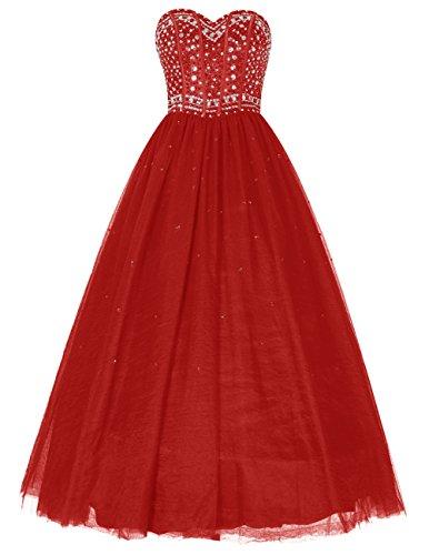 Dresstells, Robe de cérémonie Robe de soirée Robe de bal emperlée bustier en cœur longueur ras du sol Rouge