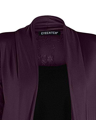 Eyecatch - Gilet long en dentelle grande taille - Ariana - Femme Pourpre