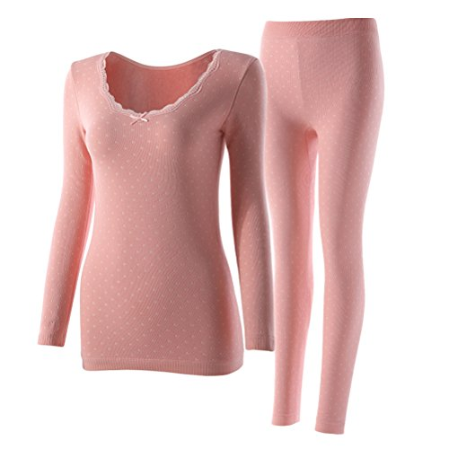 Zhhlaixing Fashion Biancheria intima termica di qualità Ladies Seamless Body Lace Underwear Suit Round Neck Thick Plus Cashmere Warm Top & Bottom Pink