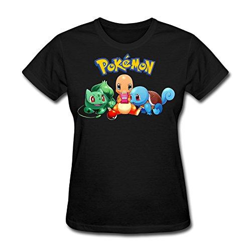 Frau Bulbasaur & Glumanda & Squirtle Pullover T-Shirts, Damen, schwarz