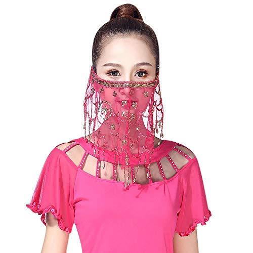 Fushkong Frauen Bauchtanz Masked Veil, Pailletten Fransen Schleier Kleidung Zubehör (Traditionelle Tanz Kostüm Von Indien)