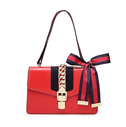 GSHGA Frauen Echtes Leder Handtaschen Mode Einzigen Schulter Crossbody Satin Tasche,Red (Gucci-handtasche, Schwarz Und Weiß)