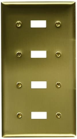 Hubbell Wiring Systems SB4 Brass 4-Toggle Switch Wall Plate, 4 Gang, 8-7/32