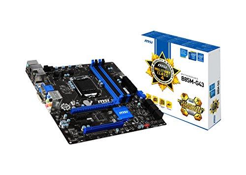 MSI B85M-G43 Intel Express Mainboard Sockel LGA 1150 (4x DIMM, 4x SATA III, 2x SATA II, 2x USB 3.0, 4x USB 2.0, 1x VGA, 1x HDMI, 1x DVI, Micro-ATX)