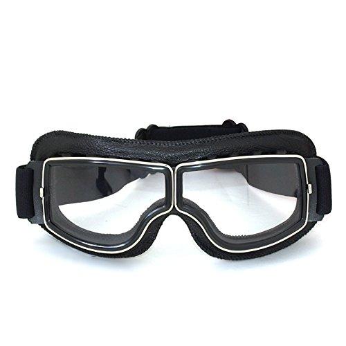 Vintage Motorradbrillen Schutzbrille für Biker, schwarz/transparent Brillenglas