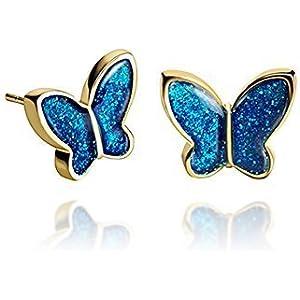 Sekt Königlichblau Schmetterling Mode-Kleine-Bolzen-Ohrringe für die Dame in der Geschenk-box
