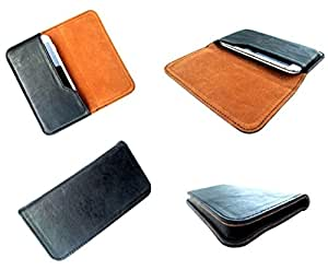 nKarta ™ Black Brown Horizontal Leather Pouch Cover Case For Coolpad Mega 3