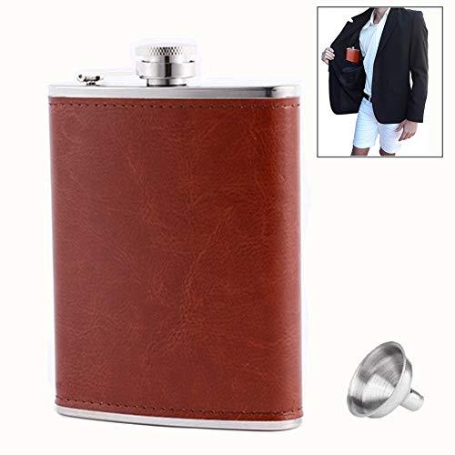 Petaca de bolsillo de acero inoxidable 18/8 marrón con bolsillo, 100% a prueba de fugas, para bebidas de licor Shot