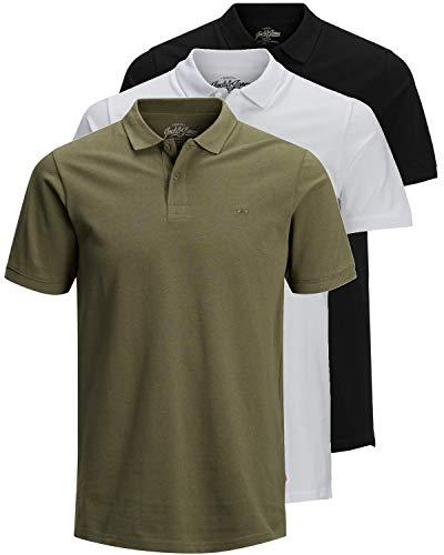 JACK & JONES 3er Pack Herren Poloshirt Slim Fit Kurzarm schwarz weiß blau grau XS S M L XL XXL Einfarbig Gratis Wäschenetz von B46 (3er Pack Mix 10, M) - Für Immer Grünes T-shirt