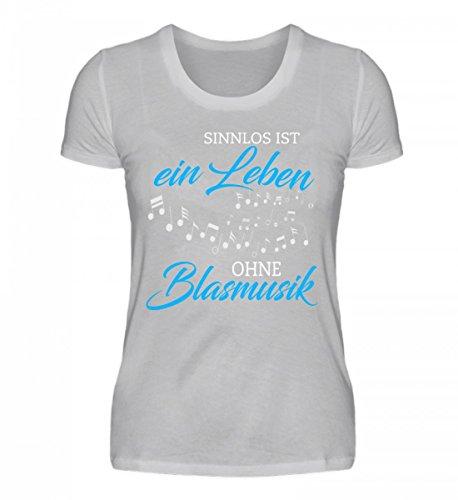 Shirtee Hochwertiges Damenshirt - Blasmusik Shirt · Musikinstrumente · Musikverein-Bekleidung · Geschenkidee für Musiker · Motiv/Spruch Grau (Meliert)