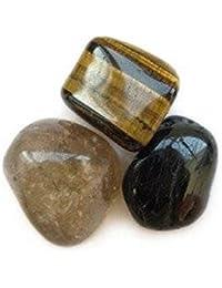 Minéraux pochette de 3 minéraux de la protection Oeil de tigre-Tourmaline noire-Quartz fumé