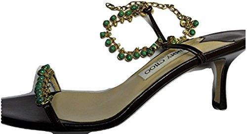 Jimmy Choo Quot;Dina Braun Kid Leder Perlen Sandale 's, Braun - Braun - Größe: 40
