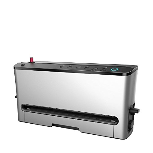Envasadora al vacío BioChef PRO – Máquina de envasar al vacío profesional, 120W, 8 Funciones, Espacio para rollo integrado, Mecanismo de corte y Bandeja anti-goteo (Plata)