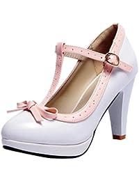 7dfd6544f753 Agodor Damen T-Spangen High Heels Plateau Pumps mit Schnalle und Schleife  Rockabilly Schuhe