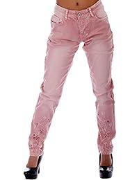 Jeans in schönen Vintage Farben mit Stickerei- und Bling Applikationen bis Groesse 44